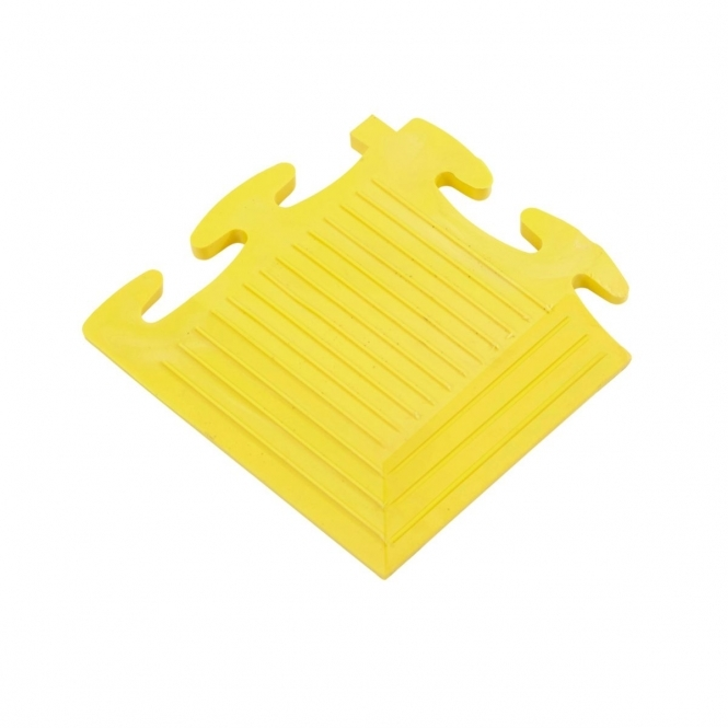 Solid Vinyl Floor Tile Corner Piece 7h x 70w x 70d mm Yellow