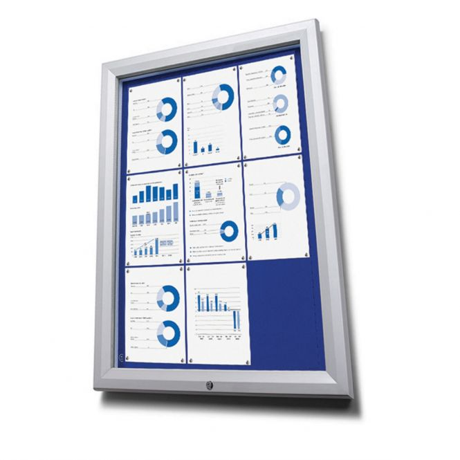 Lockable Outdoor Notice Boards With Blue Fabric Display Panels