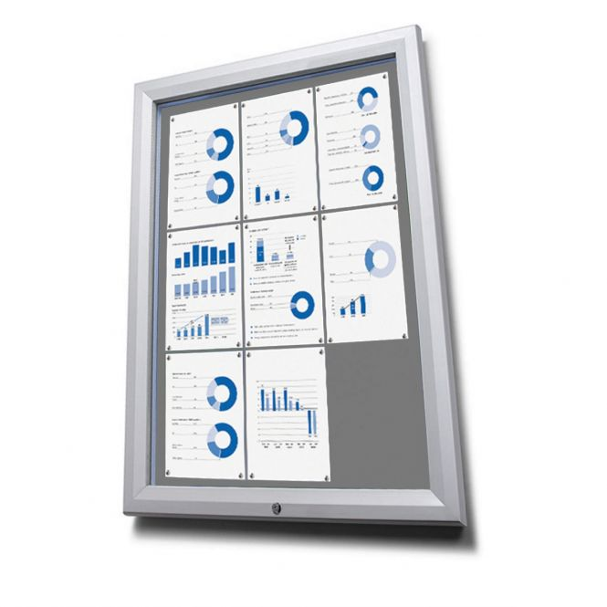 Lockable Outdoor Notice Boards With Grey Fabric Display Panels