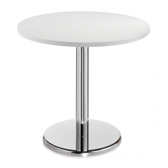 Circular Cafe Table with Round Chrome Base in Beech, Walnut & White