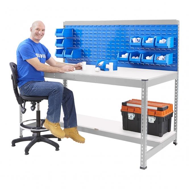 BiG400 Galvanised Workstation With Louvre Panel & Melamine Shelf