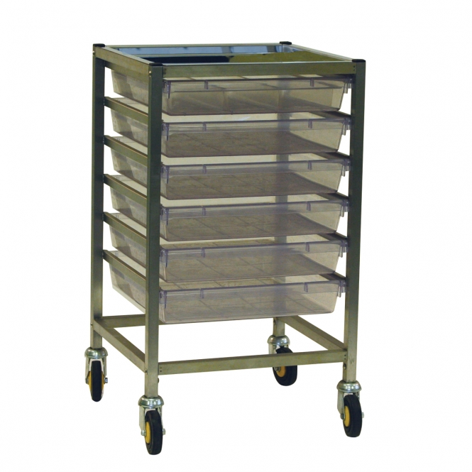 Classic Stainless Steel Single Column Trolleys With 6 Trays