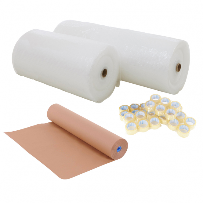 BiG800 Packing Station Re-Fill Pack | Kraft Paper Roll 900w, Bubble Wrap Roll 1500w & 36x Packing Tapes | SAVE &pound20