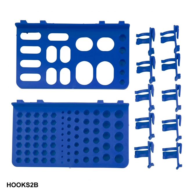 Hook Accessory Kit for Plastic Louvre Panels Includes 10 Blue Hooks & 2 Tool Trays