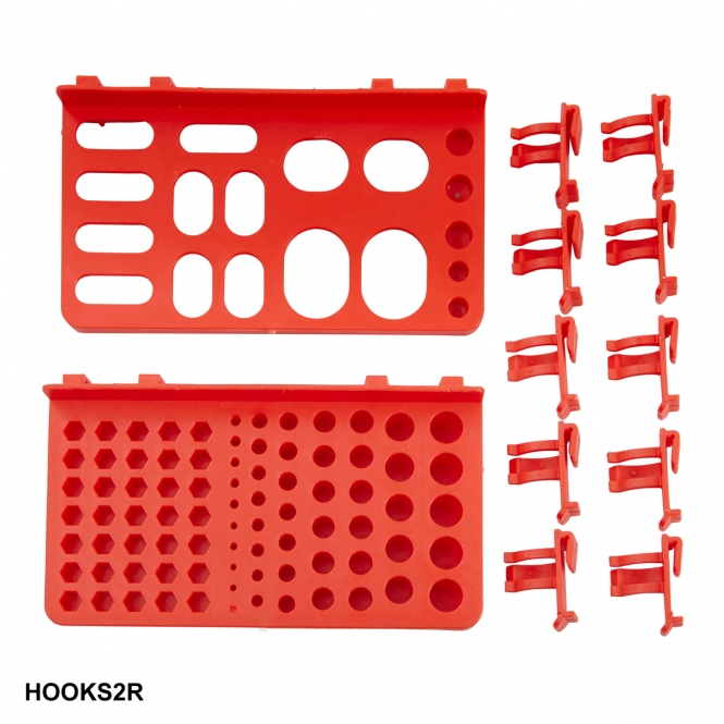 Hook Accessory Kit for Plastic Louvre Panels Includes 10 Red Hooks & 2 Tool Trays