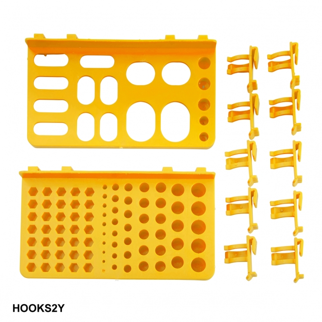 Hook Accessory Kit for Plastic Louvre Panels Includes 10 Yellow Hooks & 2 Tool Trays