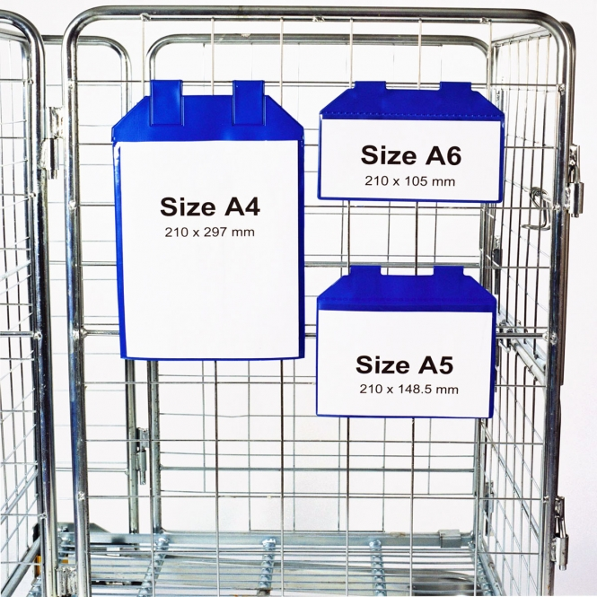 Magnetic Identification Pocket For Wire Mesh Roll Containers & Cages Blue A5 Size - Pack 10