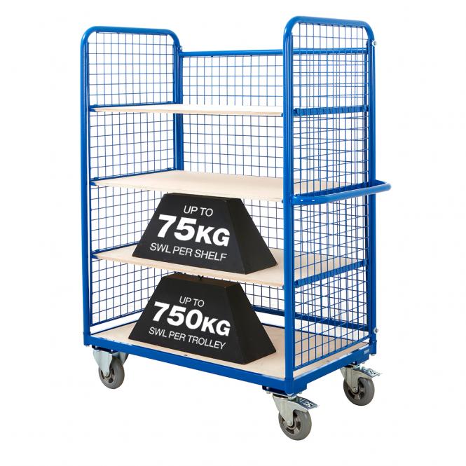 Mesh Sided Shelf Trolley Rough Terrain / Easy Glide Castors