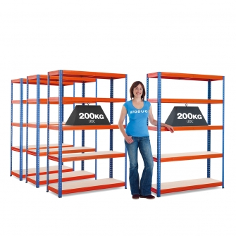 200kg Boltless Shelving 4 Bay Mega Deal
