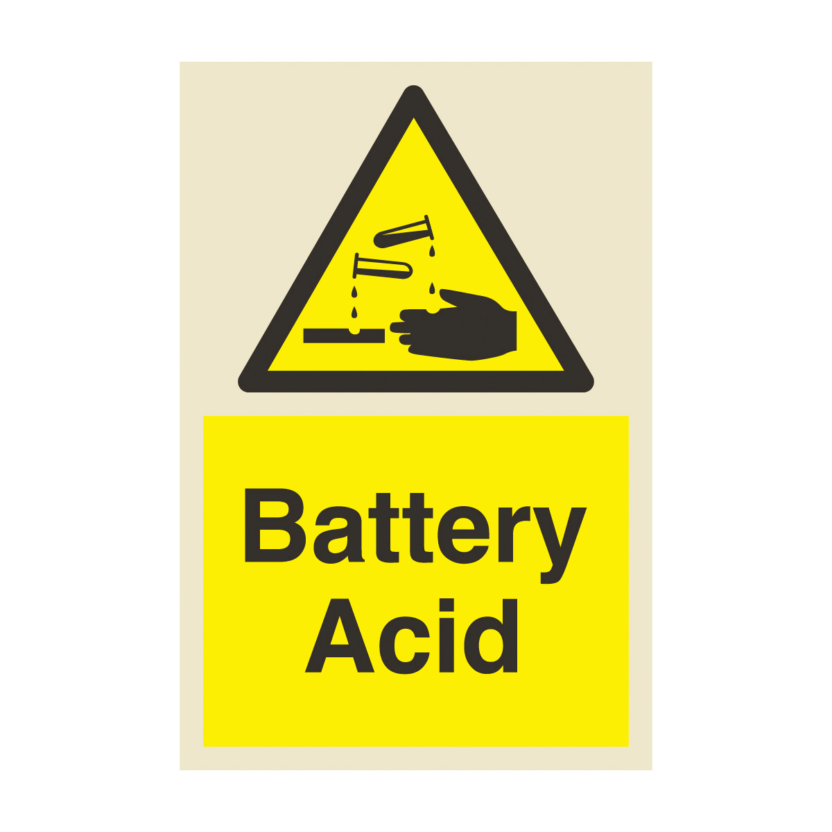 Battery Acid Safety Sign Photoluminescent Safety Sign