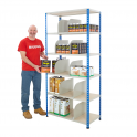BiG340 Blue & Grey 1980mm High Shelving With Chipboard Shelves & 10 Dividers