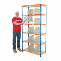 BiG340 Blue & Orange 1980mm High Shelving With Chipboard Shelves & 10 Dividers
