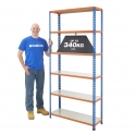 BiG340 Blue & Orange 1980mm High Shelving With Painted Steel Shelves