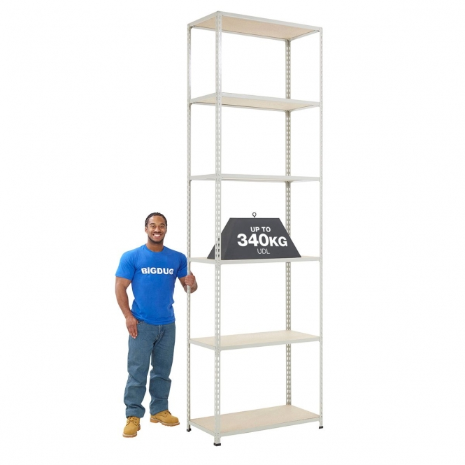 BiG340 Grey 3050mm High Shelving With Chipboard Shelves