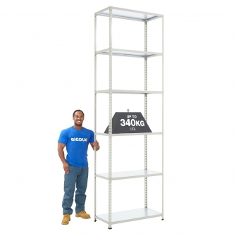 BiG340 Grey 3050mm High Shelving With Steel Shelves