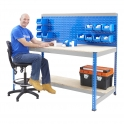 BiG400 Blue and Galvanised Workstation With Louvre Panel & Chipboard Shelf