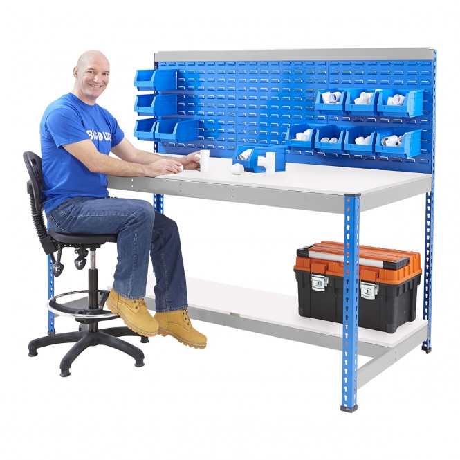 BiG400 Blue and Galvanised Workstation With Louvre Panel & Melamine Shelf
