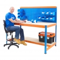 BiG400 Blue and Orange Workstation With Louvre Panel & Chipboard Shelf