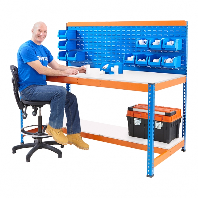 BiG400 Blue and Orange Workstation With Louvre Panel & Melamine Shelf