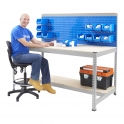 BiG400 Galvanised Workstation With Louvre Panel & Chipboard Shelf