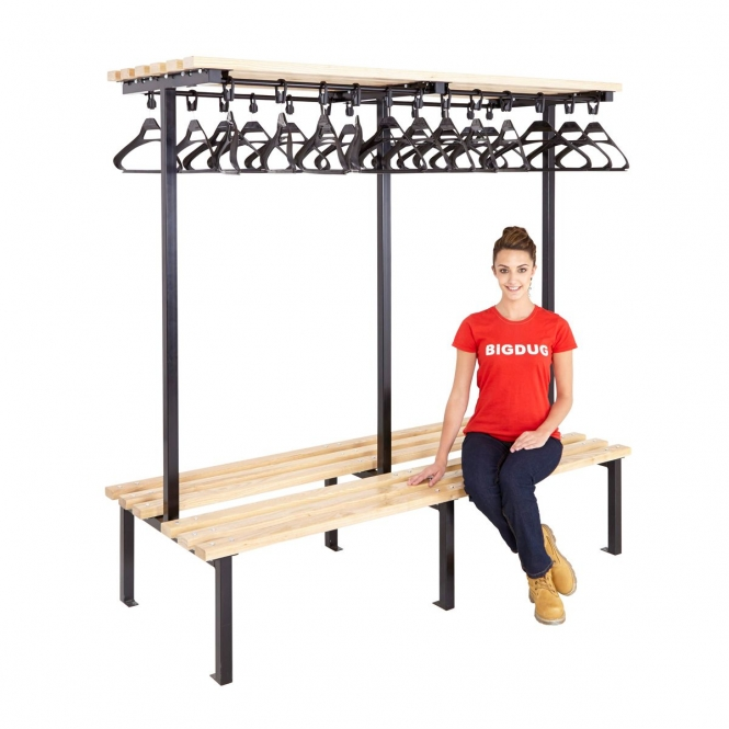 Black Double Sided Cloakroom Benches With Hangers
