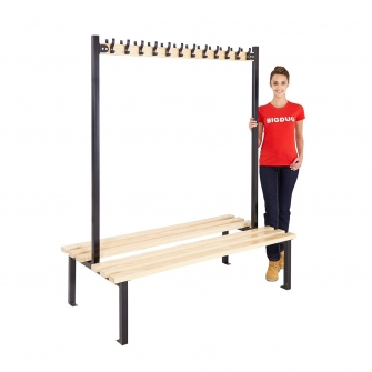 Black Double Sided Cloakroom Benches With Hooks