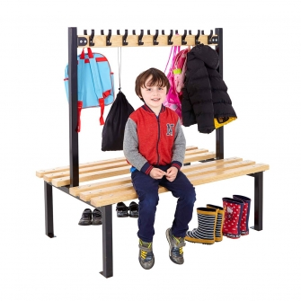 Black Junior Double Sided Cloakroom Benches With Hooks