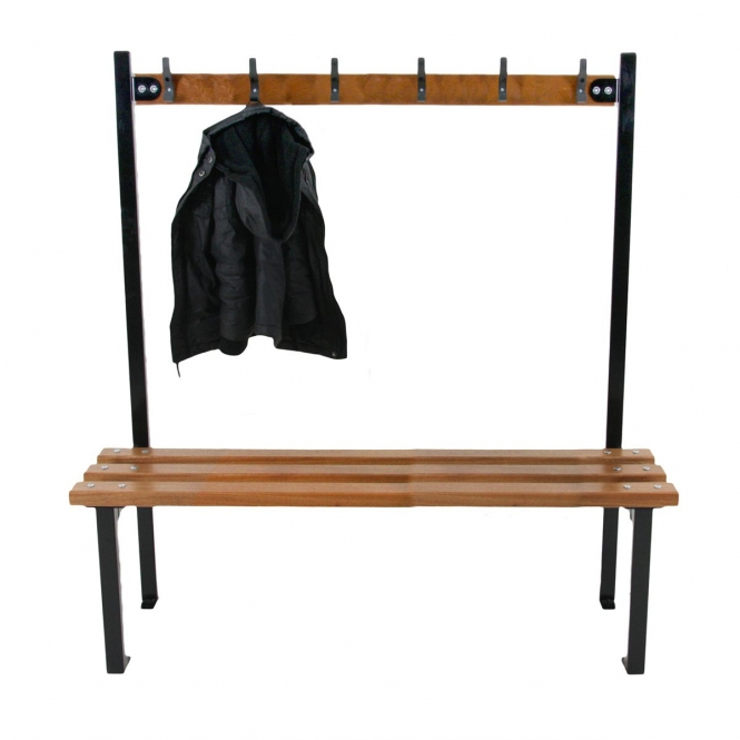 Black Junior Single Sided Cloakroom Benches With Hooks