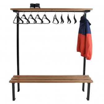 Black Single Sided Cloakroom Benches With Hangers