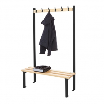 Black Single Sided Cloakroom Benches With Hooks