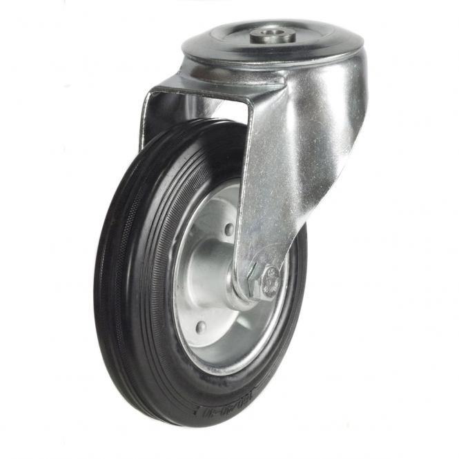 Bolt Hole 24 Series Castors With Black Rubber Wheels On Steel