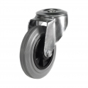 Bolt Hole 25 Series Castors With Grey Rubber Non-Marking Wheels