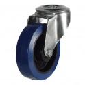 Bolt Hole 27 Series Castors With Blue Rubber Non-Marking Wheels
