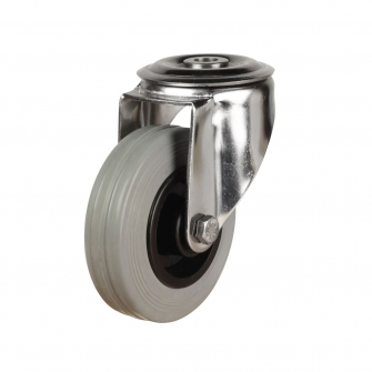 Bolt Hole 39 Series Castors With Grey Rubber Non-Marking Wheels Stainless Steel Bracket