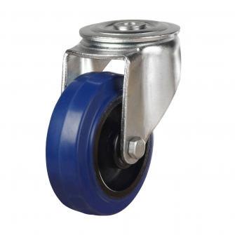 Bolt Hole 46 Series Castors With Blue Rubber Non-Marking Wheels