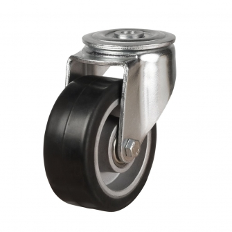 Bolt Hole 47 Series Castors With Black Rubber On Aluminium Wheels