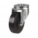 Bolt Hole 48 Series Castors With Black Rubber On Cast Iron Wheels