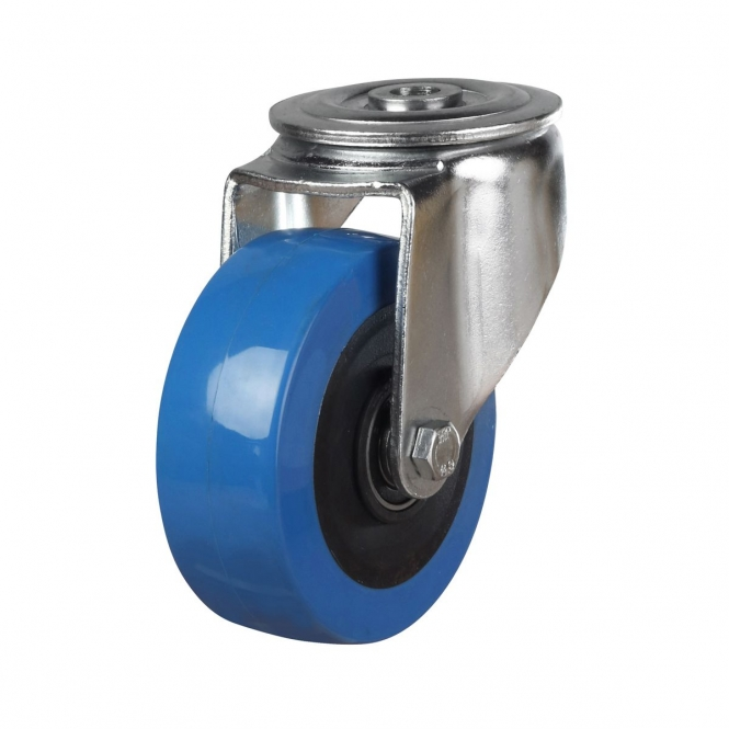Bolt Hole 52 Series Castors With Blue Polyurethane Wheels