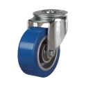 Bolt Hole 56 Series Castors With Blue Polyurethane On Aluminium Wheels