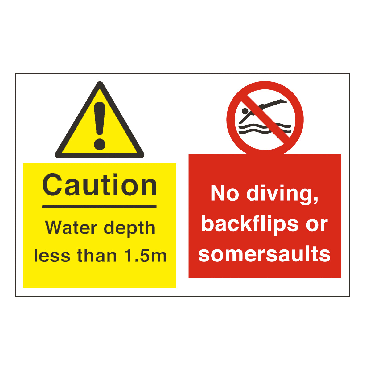 Caution Water Depth No Diving Safety Sign Water Safety