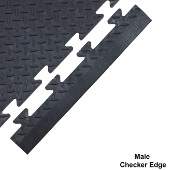 Checker Plate Surface Ramped Edge Male 14h x 495w x 85d mm Black
