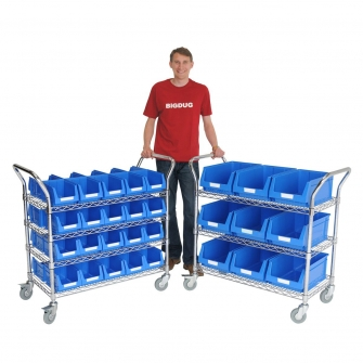 Chrome Trolleys With Bins