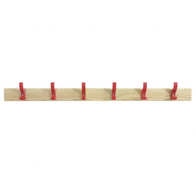 Coat Rails With Red Hooks