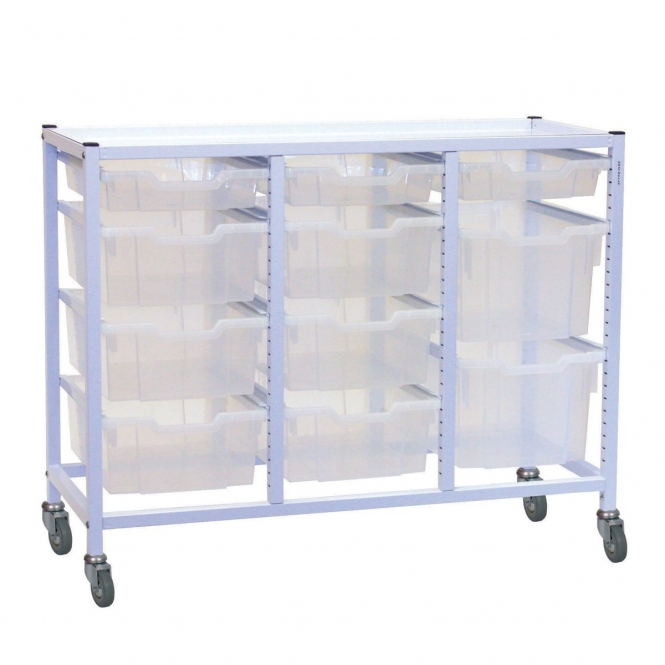 Compact Triple Column Trolleys With 11 Mixed Trays