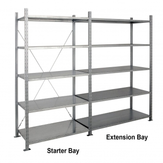 Galvanised HD Shelving 2000h x 1000w x 600d mm 5 Levels 310kg Capacity - Extension Bay