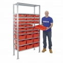Galvanised Shelving With Gratnells Trays