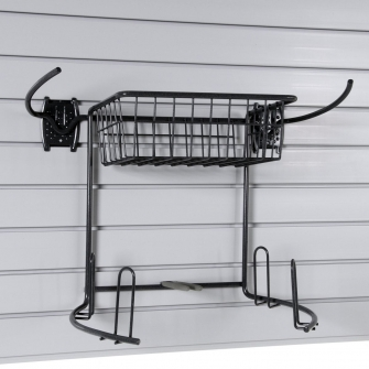 Golf Rack And Basket For Slatwall Or Wire Mesh Panels
