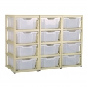 Gratnells Beige Triple Column Units With 12 Deep Trays