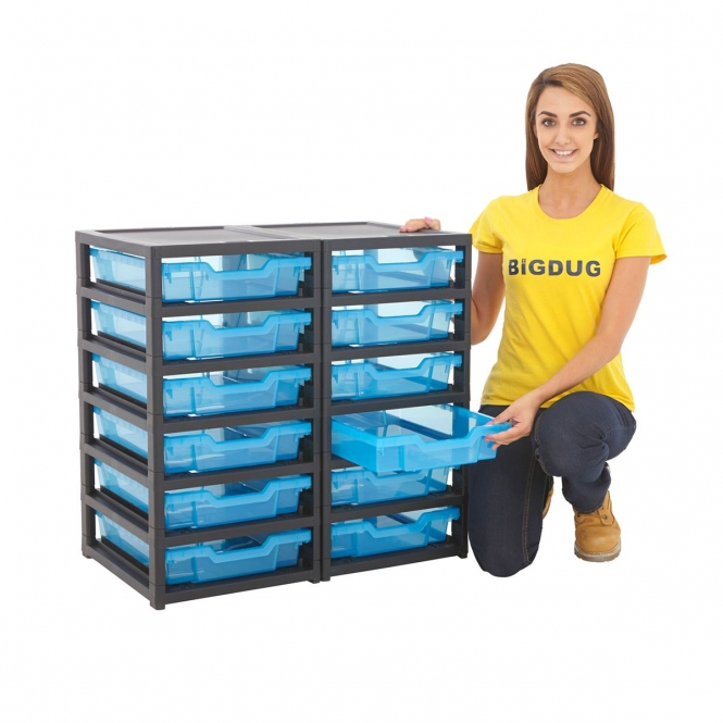 Gratnells Black Double Column Units With 12 Shallow Trays