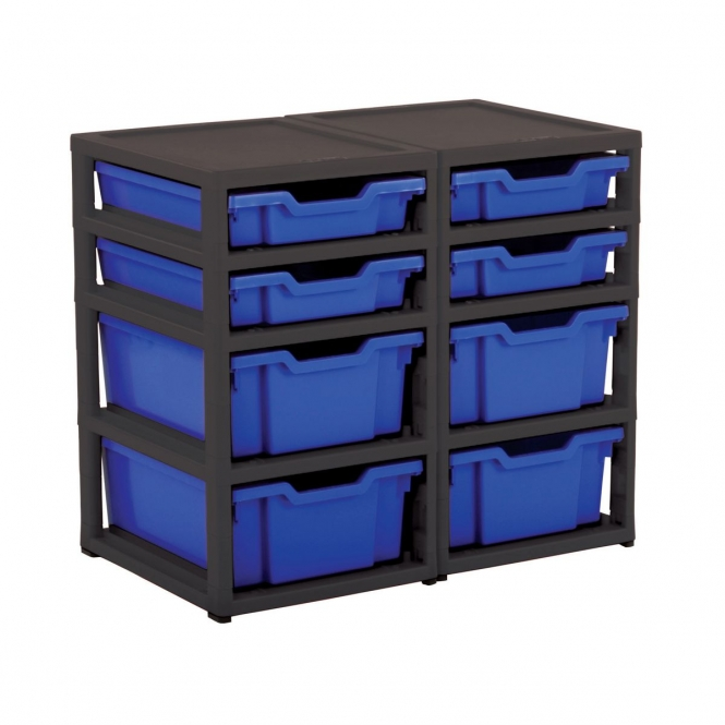 Gratnells Black Double Column Units With 4 Deep And 4 Shallow Trays